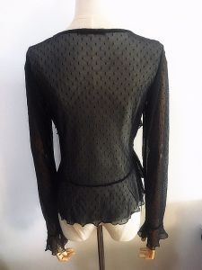 Women Fashion Clothing See Through Lace Ladies Flouced Tops pictures & photos