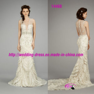 Noble Sexy V-Neckline Bridal Dress with Buttons Back pictures & photos