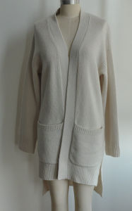 100%Cashmere Women Side Split Open Cardigan Long Knit Sweater pictures & photos