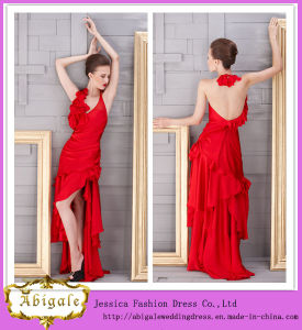 New Hot Halter High Slit Ruffles Backless Sheath Sleeveless Silk Satin Sexy Red Wedding Gowns Yj0033