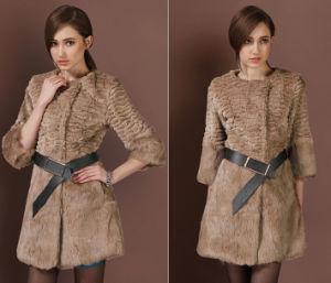 Women′s Three Quarter Sleeve Rabbit Fur Coat Simple Fashion Style pictures & photos