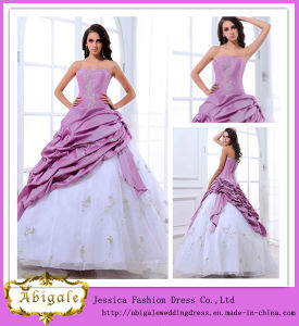 Hot Selling Taffeta Embroidered Full Length Ball Gown Strapless Sweep Train Bridal Purple and White Wedding Dress 2013 (MD10001)