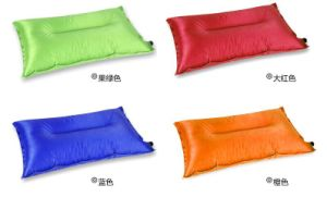 Fabric Inflatable Travel Pillow Flocked Blow-up Cushion Neck Support pictures & photos