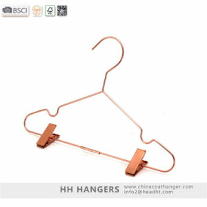 Rose Gold Drying Metal Wire Clothes Hanger with Clips Hangers for Jeans pictures & photos