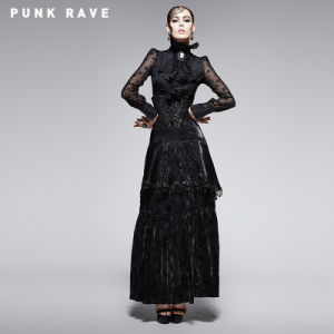 Gothic High Waist Long Skirt with Flocking Pattern (Q-246) pictures & photos