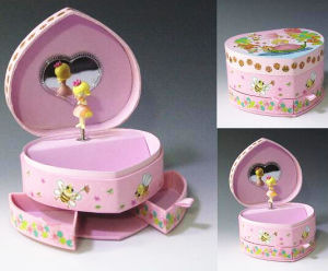 Pink Heart-Shaped Music Box with Mirror and Drawers pictures & photos