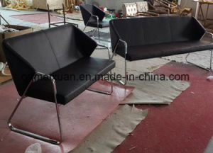 The Nordic Classic Metal Armrest Sofa Contracted Skin Art Sofa Sitting Room Furniture (M-X3508) pictures & photos