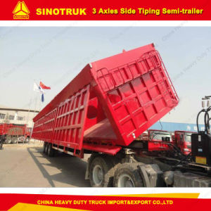 Construction Hydraulic Side Tipping Box Dumper Semi Tipper Trailer pictures & photos