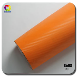 Tsautop 3D Carbon Fiber Vinyl for Car Wrapping& Orange B10 pictures & photos