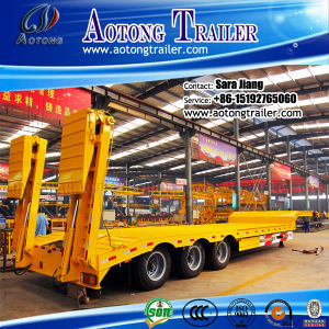 Hydraulic Folding Ramp 3 Axles Lowboy Trailer/ Low Bed Trailer pictures & photos