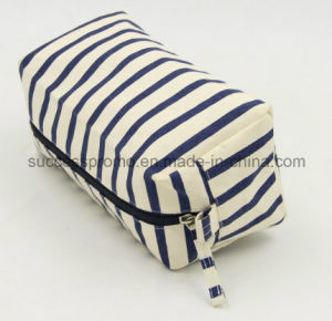 Promotional Cotton Canvas Cosmetic Toilet Bag with Zipper pictures & photos