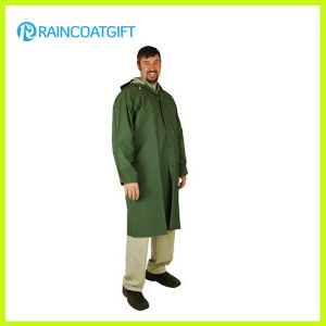 Green Color Adult PVC Polyester Long Rain Wear pictures & photos