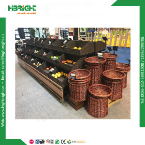 Retail Store Metal and Wooden Vegetable Display Racks pictures & photos