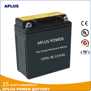 Wet Charge Maintenance Free Lead Acid Motorcycle Battery 12n5l-BS 12V5ah pictures & photos