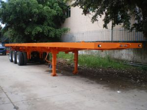 3 Axles Single Tyre Flatbed Trailer pictures & photos