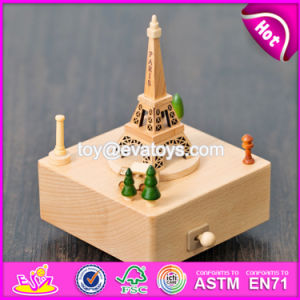 Best Design Eiffel Tower Shape Wooden Antique Music Box W07b042 pictures & photos