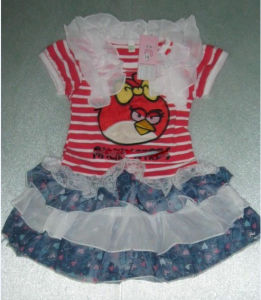 Pretty Girl′s Dress Cartoon Birds