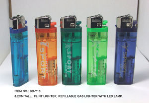 (Item No.BD-Y16) Flint Lighter, Refillable Gas Lighter With LED Light, Baida Lighter pictures & photos