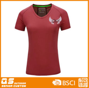 Women′s V -Neck Sports Running T-Shirt pictures & photos