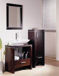 Wood Verneer Bathroom Vanity Cabinet with Side Cabinet