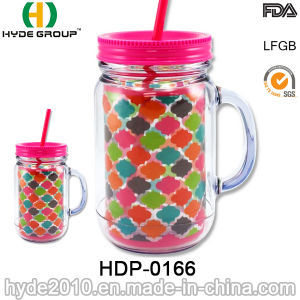 Double Wall Plastic Mason Jar with Handle and Straw (HDP-0166) pictures & photos