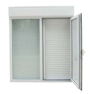 Double Glazed Glass PVC Casement Window with Shutter Louver (TS-1133) pictures & photos