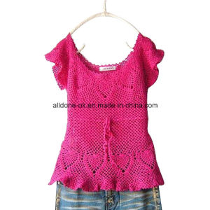 Sexy Fashion Pink Short Sleeve Hand Crochet Ladies Summer Dress pictures & photos