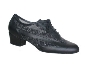 Ladies Black Leather&Mesh Upper Salsa/Latin Dance Practice Shoes pictures & photos