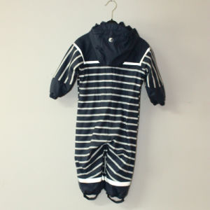 Blue PU Stripe Conjoined Raincoat/Overall for Children pictures & photos