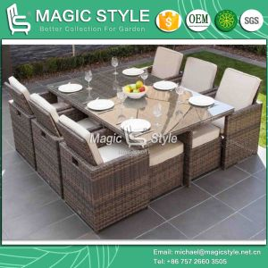 Patio Rattan Dining Set with Cushion Outdoor Dining Set (Magic Style) pictures & photos