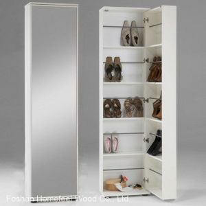 White Wooden Shoe Storage Cabinet with Mirror (HF-EY08193) pictures & photos