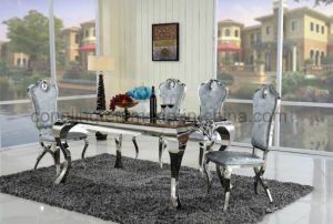Latest Design Elegant Shape Dining Table with Top Glass pictures & photos