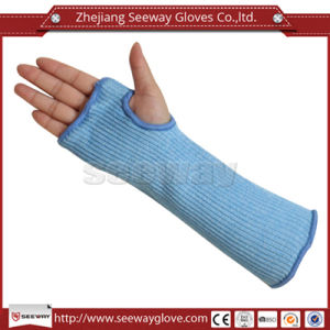 Seeway Hhpe Fiber Glass Blend Cut Level 5 Arm Sleeves Protection Single-Ply Safety Work Armband with Thumb Slot