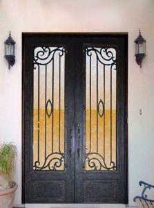 Hand-Forged Arch Top Double Entry Door Wrought Iron Door Steel Interior Main Door (SE-D164) pictures & photos