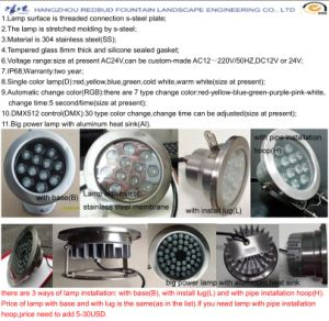 Stainless Steel Underwater Fountain Big Power LED Lamp pictures & photos