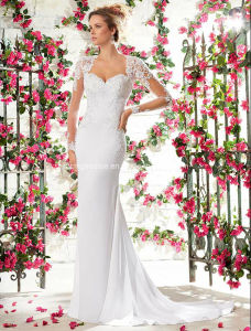 White Long Sleeve Bridal Gown Embroidary Mermaid Wedding Dress pictures & photos