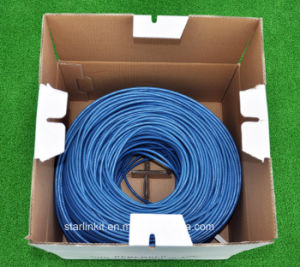 4-Pair 24AWG UTP Pure Copper Cat5e Ethernet Network Cable Blue pictures & photos