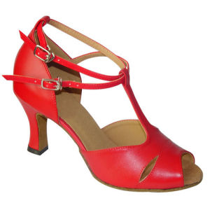 Red Leather Latin/Salsa/Cha-Cha Dance Shoes for Women pictures & photos