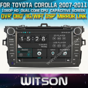 Witson Car DVD Player with GPS for Toyota Corolla 2007-2012 (W2-D8124T) Front DVR Capactive Screen OBD 3G WiFi Bluetooth RDS pictures & photos