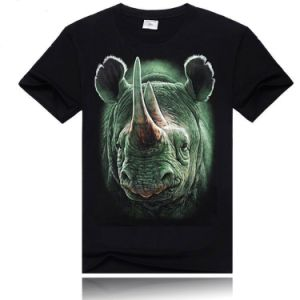 News Design 3D Rhinoceros Print Mens Cotton T-Shirt pictures & photos