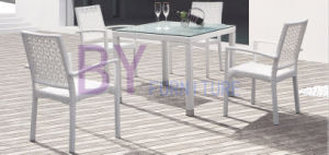 White Luxury Modern PE Rattan Furniture with Glass Top Table pictures & photos