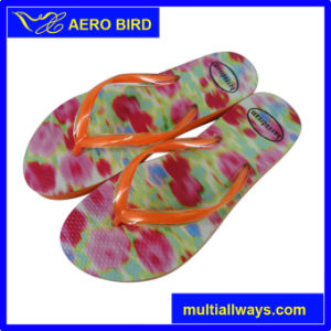 Latest Fashion PE Slippers with Colorful Print for Lady pictures & photos