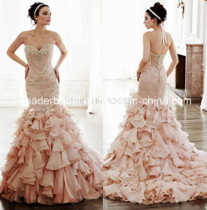 Pink Organza Mermaid Bridal Gowns Beads Crystals Wedding Dresses L2016 pictures & photos