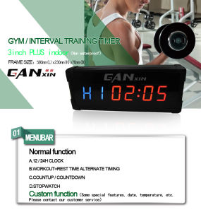 [Ganxin] 3 Inch Mini Screen Gym Timer Precision Alarm Clock pictures & photos