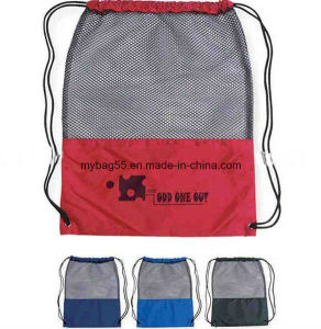 Experienced Factory High Quality Mesh Drawstring Polyester Backpack Bag pictures & photos