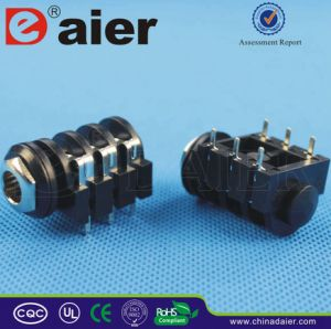 Plastic 6.35mm Stereo Jack Socket Adapter with Short PCB Terminals pictures & photos