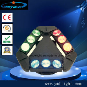 DMX Stage Lights, 9PCS 10W Full Colors LED Spider Beam Moving Head Lights pictures & photos