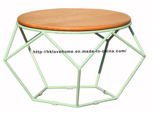 Morden Dining Coffee Metal Wire Wooden Top Table pictures & photos