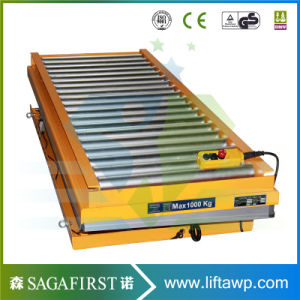 2ton 1m Stationary Hydraulic Wood Roller Table Conveyor Lift pictures & photos