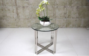 Crossed Stainless Steel Glass Round Coffee Table for Sale (CCT-026) pictures & photos